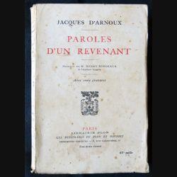 Paroles d'un revenant écrit par Jacques d'Arnoux aux éditions Plon - F009
