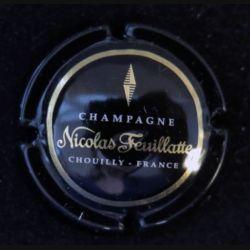 Capsule Muselet de bouteille de champagne Nicolas Feuillatte contour noir centre noir (L7)