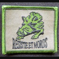 Insigne tissu du bataillon médian des chasseurs ardennais belges résiste et mords