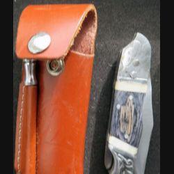 Couteau en bois et os et métal gravé et lame en acier inoxydable avec étui et aiguiseur
