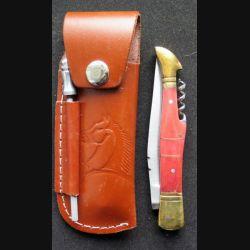 Couteau manche en os et lame en acier inoxydable et tire bouchon avec étui et aiguiseur