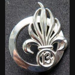 13° DBLE : insigne de béret argenté de la 13° demi-brigade de la Légion Etrangère  Boussemart G.4584 modèle 2001