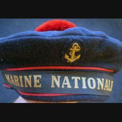 Bachi de marin avec bande Marine nationale et pompon taille 54 matriculé (C210)