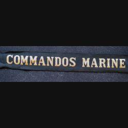 """MARINE : bande de bachi de marin """" ECOLE DES FUSILIERS MARINS """" longueur 65 cm fils dorés petit accroc"""