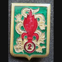 2° REI : 2° régiment étranger d'infanterie Extrême Orient Drago O. Métra déposé émail
