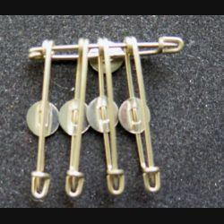 MILITARIA : lot de 5 épingles argentées avec pastille percée type Courtois longueur 3 cm