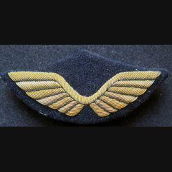 AIR : Insigne tissu de casquette d'officier de l'armée de l'air en cannetille 9 x 4 cm avec crochets