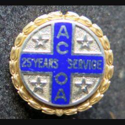 Boutonnière en or diamètre 1,6 cm 14 K 10 K de l'ACOA 25 ans de service attribuée
