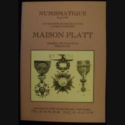 CATALOGUE MAISON PLATT ORDRES DÉCOS MÉDAILLES NOËL 1997 (C83)