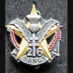 26° RI : boutonnière du 26° régiment d'infanterie Drago H. 279 émail