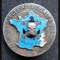 SS TFIS : sections spéciales des forces françaises Indochine Sud en argent  Drago Olivier Métra avec éclat émail