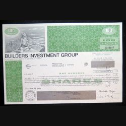 Action de Builders Investment Group de 100  shares du 20 novembre 1973 n° NC 39147