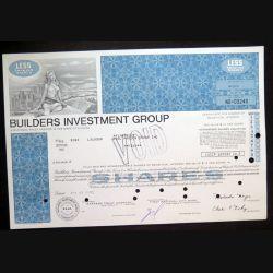 Action de Builders Investment Group de 5 shares du7 avril 1972 n° 03240
