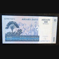 MADAGASCAR : billet de banque de 100 Ariary