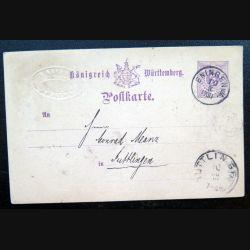 Carte postale allemande postkarte 10/03/XII avec timbre embouti Württemberg post 5 pfennig violet