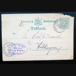 Carte postale allemande postkarte 30/05/1894 avec timbre embouti Württemberg 5 pfennig vert