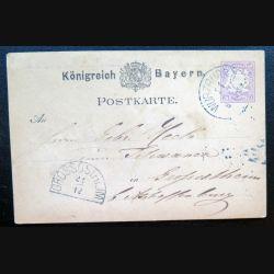 Carte postale allemande postkarte 22/12 avec timbre embouti Bayern post 5 pfennig violet