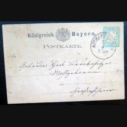 Carte postale allemande postkarte 2/4 avec timbre embouti Bayern post 5 pfennig vert