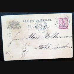 Carte postale allemande postkarte 29/03/1885 avec timbre embouti Bayern post 5 pfennig rouge