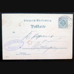 Carte postale allemande postkarte 06/11/1906 avec timbre embouti Württemberg dienst sache 2 pfennig bleu
