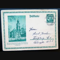 Carte postale allemande postkarte 25/04/1933 avec timbre embouti Sachsen 6 pfennig vert