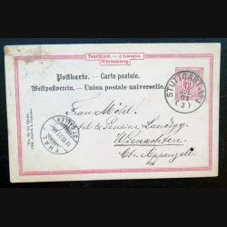Carte postale allemande postkarte 17/01/1901 avec timbre embouti Württemberg 10 pfennig rouge