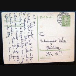 Carte postale allemande postkarte 17/02/1933 avec timbre embouti 6 pfennig vert