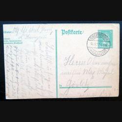 Carte postale allemande postkarte 14/06/1927 avec timbre embouti Deutsches Reich 5 pfennig vert