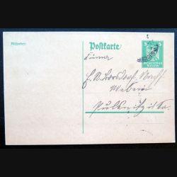 Carte postale allemande postkarte avec timbre embouti Deutsches Reich 5 pfennig vert