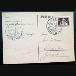 Carte postale allemande postkarte 17/08/1936 avec timbre Deutches reich collé 3 pfennig