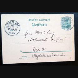 Carte postale allemande postkarte 17/10/1901 avec timbre embouti Deutsche Reichpost 5 pfennig vert