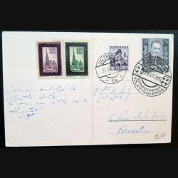Carte postale autrichienne du parlement 25/07/1935 post Anschluss avec timbres rayés de wien 1933