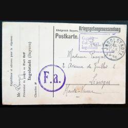 Carte postale d'un soldat français prisonnier de guerre déporté en Sibérie 03/02/1918