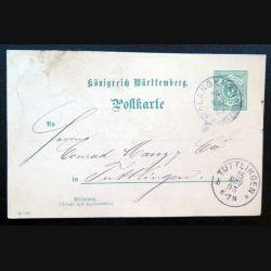 Carte postale allemande postkarte 15/11/1893 avec timbre embouti Württemberg 5 pfennig vert