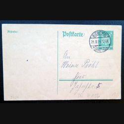 Carte postale allemande postkarte 21/08/1924 avec timbre embouti Deutsches Reich 5 pfennig vert