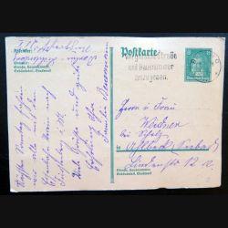 Carte postale allemande postkarte 11/06/1928 avec timbre embouti Deutsches Reich 8 pfennig vert