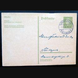 Carte postale allemande postkarte 14/09/1932 avec timbre embouti 6 pfennig vert