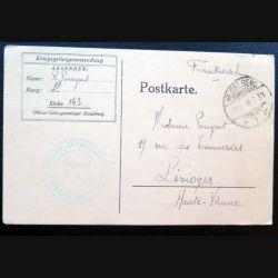 Carte postale d'un soldat français prisonnier de guerre 10/09/1918