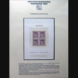 Carte 1° jour n° 38872 Weltpostkongress Hamburg 1984 4 timbres 1 1/4