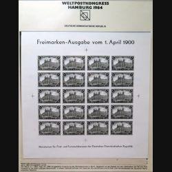 Carte 1° jour Weltpostkongress Hamburg 1984 20 timbres Freimarken-Ausgabe vom 1. April 1900