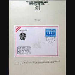 Carte 1° jour Weltpostkongress Hamburg 1984 1 timbre Österreichische post Europa 1959 1984