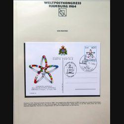 Carte 1° jour Weltpostkongress Hamburg 1984 1 timbre San Marino congresso mondiale 400 lire