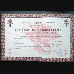Diplôme de combattant des FFI des Côtes-du-Nord 1944 attribuée à Monsieur Mirgon n° 4905