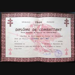 Diplôme de combattant des FFI des Côtes-du-Nord 1944 attribuée à Edmond Samson n° 4910