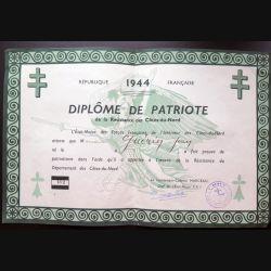 Diplôme de patriote de la résistance des Côtes-du-Nord 1944 attribuée à Jean Guérin n° 492