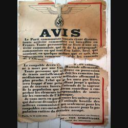 Affiche allemande SS contre le parti communiste français avec de graves manques et déchirures