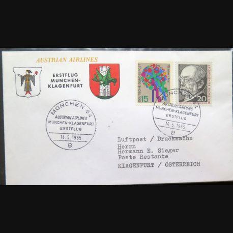 Enveloppe 1° jour Austrian Airlines Erstflug Munchen Klagenfurt 14 mai 1965