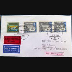 Enveloppe 1° jour Austrian Airlines Erstflug Munchen Vien 1 avril 1966