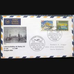 Enveloppe 1° jour Lufthansa Erstflug Stuttgart Köln 1 avril 1967