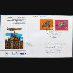 Enveloppe 1° jour Lufthansa Aufnahme Düsseldorf Mailand 24 juin 1965